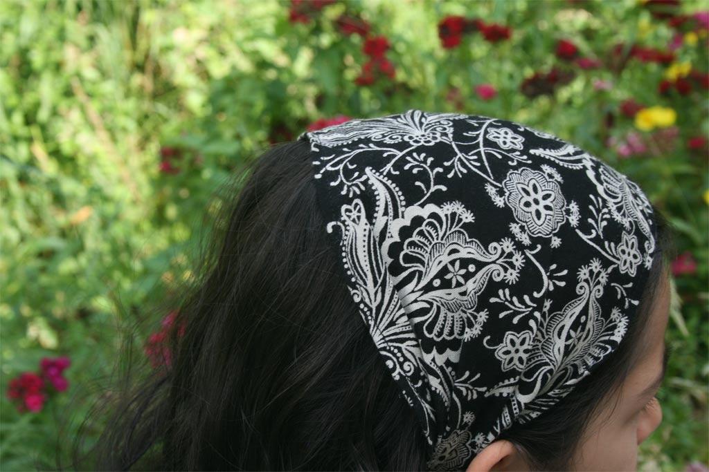 кърпа за глава бели цветя