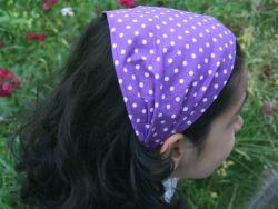 Кърпа за глава- лилава на точки