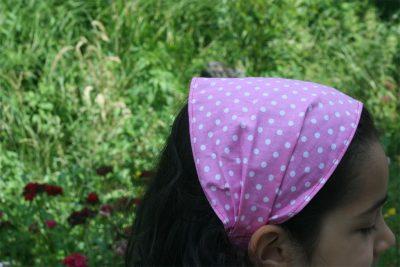 Кърпа за глава- розова на точки