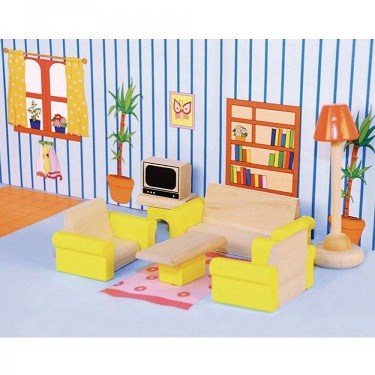 Дървена дневна за кукли
